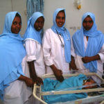 Nursing students with infant in Somaliland