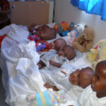 Hydrocephalus kids line up for photos