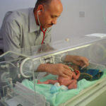 Premature baby and neonatologist in Africa